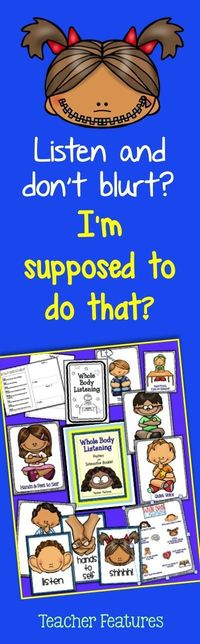 Get yours now for Back to School! This 29 pg. packet is perfect for setting up classroom expectations at the beginning of the year and for being a visual reminder throughout the rest of the year. Whole Body Listening is an important skill to teach!