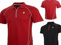 Ferrari New! 2015 Scuderia Ferrari F1 Mens Performance Polo Shirt In A Sports Style! Sports style panelled polo with contrast piping, zip at neck with Italian flag zip puller. Rubber Scudetto badge on chest, small Scuderia Ferrari print on back neck and w...