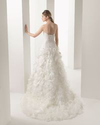 Drop Waist Sweetheart Organza Ivory Brush Train Wedding Dress h1rc0397 for 280.52 �'� # landybridal