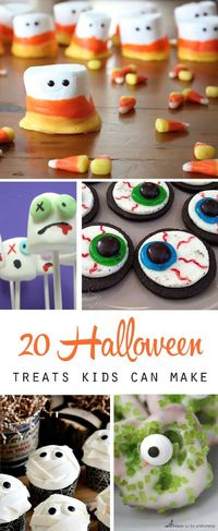 20 fun Halloween treats to make with your kids - these treats are easy enough for kids to have fun making. pretzel spiders, mummy twinkles, and more.