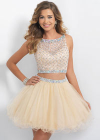 2015 Fashion Two Piece Sleeveless Beaded Tulle Sand Homecoming Dress