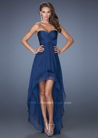 Navy Strapless Sequin Top Pleated High Low Prom Dress