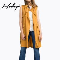 Vogue Simple Sleeveless Pocket One Color Fall Tie Coat - Bonny YZOZO Boutique Store