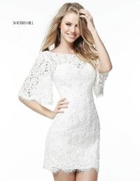 51386 Short Bell Sleeves Beaded Pattern Open Back High Neck Ivory Short Lace Dress For Homecoming