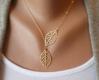 lovely simple fashion leaf necklace