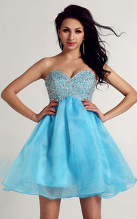 Ever Miss 1012 Strapless Blue Sparkling Beads Short Homecoming Dresses