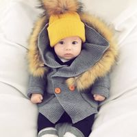 Winter Warm Newborn Baby Sweater Fur Hood Detachable Grey Infant Boys Girl Knitted Cardigan Outwear $41.99