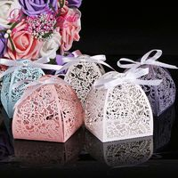 50Pcs 5 colors Laser Cut Lace Flower Guest Wedding Favors And Gifts Birthday Party Decoration $22.74