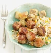 Curried chicken meatballs with apricot rice pilaf