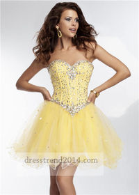 Beading Yellow Corset Cocktail Dresses 2014