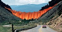 Christo and Jeanne-Claude - Valley Curtain (1970-72) | Valley Curtain was installed between two Colorado mountain slopes. The orange curtain was made from 200,200 square feet (18,600 square metres) of woven nylon fabric.