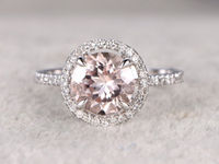 8mm Morganite Engagement ring White gold Diamond wedding band 14k Round Cut Gemstone Promise Bridal Ring Claw Prongs Pave Set Handmade