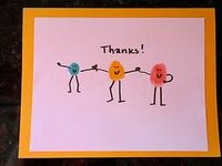 cute thank you cards from the kids. They can put their fingerprint as the body.