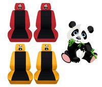 Two Front Seat Covers Fits a Toyota Corolla with an Embroidered Panda Side Airbag Friendly $89.99