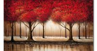This color-rich contemporary gallery-wrapped canvas art print from artist Rio will spruce up any drab wall. 'Parade of Red Trees' features a landscape composition. This giclee horizontal print arrives ready to hang and enrich any decor.