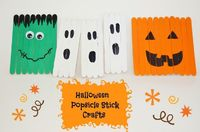 These Halloween Popsicle Stick Crafts for kids are SOOOO much fun and incredibly easy for kids of any age! You can very easily adapt the craft to the age group