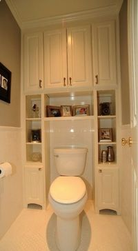 LOVE IT!!! built-ins surrounding toilet, to save usually wasted space. Seriously!!