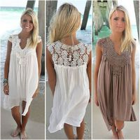 2019 Summer Women Dress Sleeveless Womens Loose Beach Lace Dress High Quality Dresses 8 color plus size casual mini Vestidos $27.78