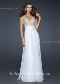 Long Spaghetti Strap Embellished Bodice Cheap White Prom Dress