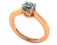 Unique Engagement Ring 1 carat Yellow gold Swirl Prongs Trellis Diamond Solitaire Ring 14K Solid Rose Gold $1918.20