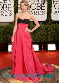 Taylor Swift 2014 Golden Globe Awards Sweet Bow Black Red Trailing Gown