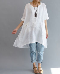 linen Asymmetrical long shirt/ Plus size long shirt/ Leisure Linen long shirt/ Women blouse shirt