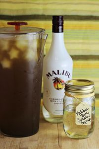 Make a Malibu Rum Simple Syrup to sweeten your iced tea! It's a great option for parties or for iced tea bars.