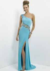 Aqua Long Slit Jersey Beaded illusion One Shoulder Evening Gown