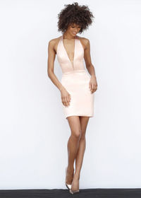 Glamorous Stretch Satin Plunging V Neck Fitted Blush Cocktail Dress
