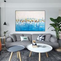Original Modern art abstract painting on canvas art ice blue painting acrylic heavy texture Wall art Pictures Home decor cuadros abstractos $89.00