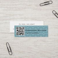 Blue Damask QR CODE Mini Business Cards