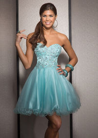 Mint Sweetheart Beaded Bodice Tulle A Line Short Homecoming Dress