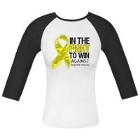 In The Fight To Win Against Endometriosis Awareness Fitted Raglan T-Shirts featuring a yellow camo ribbon for advocacy by Endometriosis T-shirts, Apparel and Gifts
