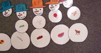 These snowman puzzles have the initial letter written on the hats. The children find a medium and large ball with pictures to match the beginning sound.