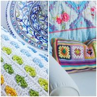 Haken en meer :: granny squares + stripes cushion