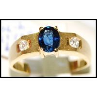 Diamond Solitaire Natural Blue Sapphire Ring 18K Yellow Gold [RS0147]
