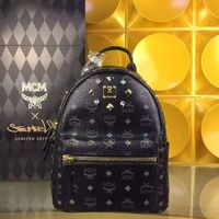 MCM Small Stark Crystal Four Studded Backpack In Black
