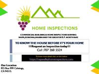 Buying or selling a home is not something you do every day, so we provide the detailed information you will need for planning how to make a house: your next home. contact Napa Valley Home Inspections for property inspections. Phone Number:707 260 5524 ...