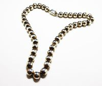 Sterling Silver Bead Necklace - Sterling Silver Ball Beads - Mexican Vintage Sterling Choker Necklace, Signed Mexico, TM - 196 925 $235.00