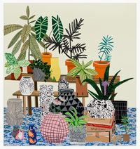 wood, plants and illustrations.