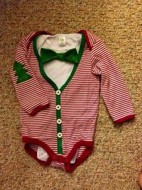 Baby first Christmas cardigan bow tie onesie set