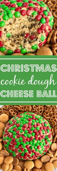 Cookie dough cheeseball dip is the best appetizer or snack to take to a party or munch on during the Holidays! Red and green m&m's cover the outside of a peanut