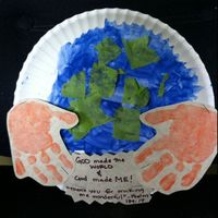 World in our hands. Could change quote or put kid's Earth Day wish/promise for non-religious institues.