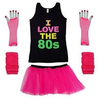 80s Neon Vest Top, Skirt and Accessories Kit for Ladies