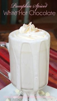Pumpkin Pie Spiced White Hot Chocolate-the perfect way to welcome in fall! I'm part of this new group, Chocolate Lovers. It's right up my alley, chocolate, righ
