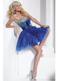 Hannah S 27729 Royal/Turquoise Bright Beaded Upper Bodice Homecoming Dresses