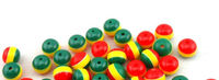Pack of 100 Round Mini Rasta Colours Stripe Beads. 6mm Ghana Jamaica Reggae Spacers. £8.99