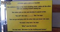 Blonde hired as a teacher joke