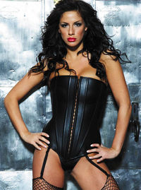17840 Leather Long Line Corset Reminiscent of the medieval corsets of old, the Long Line Corset has it all: soft leather, body-sculpting boning, sturdy hook and eye front opening and detachable garters. G-string Included. http://www.comparestoreprices.co....