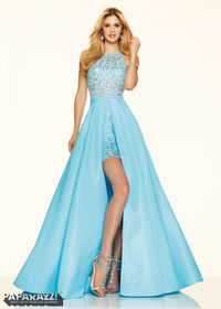 2016 Trendy Beaded Taffeta Open Back Sky Blue High Low Prom Dress